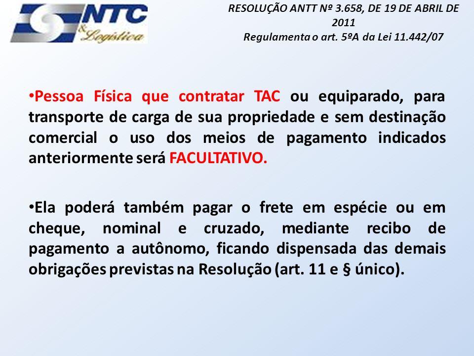 RESOLUÇÃO ANTT Nº 3.658, DE 19 DE ABRIL DE 2011