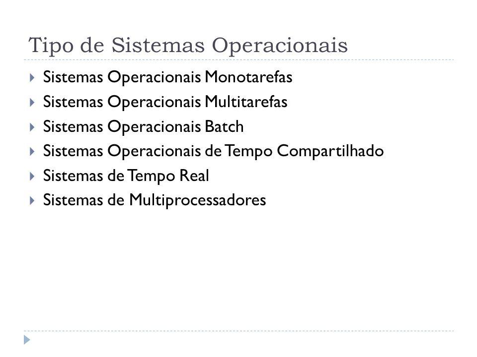 Tipo de Sistemas Operacionais