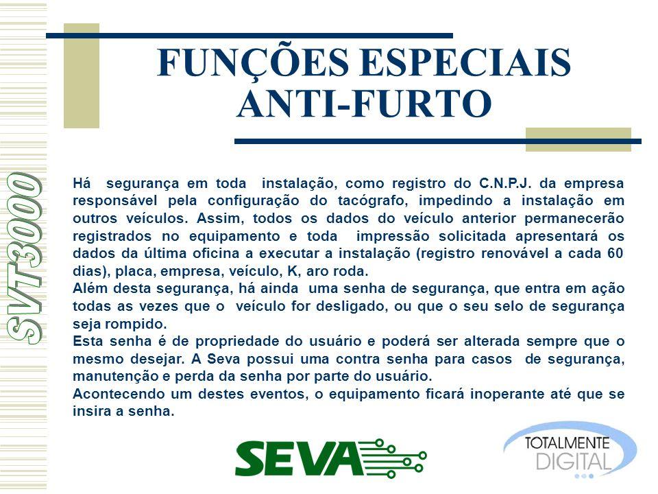 FUNÇÕES ESPECIAIS ANTI-FURTO