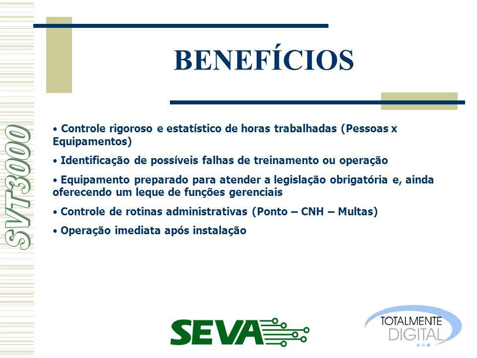 BENEFÍCIOS Controle rigoroso e estatístico de horas trabalhadas (Pessoas x Equipamentos)