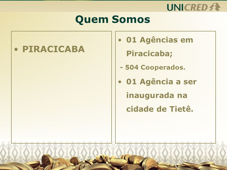 Quem Somos PIRACICABA 01 Agências em Piracicaba;