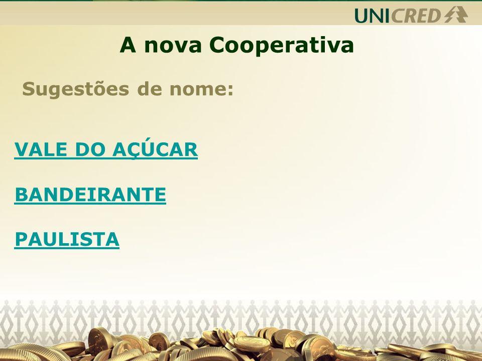 A nova Cooperativa Sugestões de nome: VALE DO AÇÚCAR BANDEIRANTE