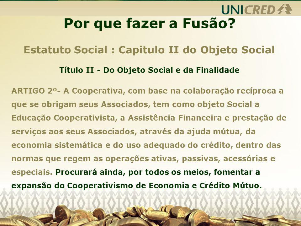 Por que fazer a Fusão Estatuto Social : Capitulo II do Objeto Social