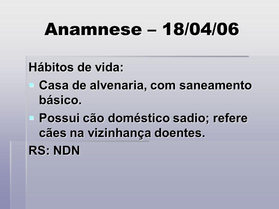 Anamnese – 18/04/06 Hábitos de vida: