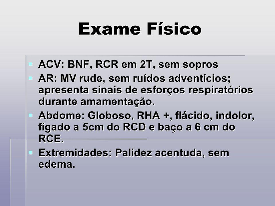 Exame Físico ACV: BNF, RCR em 2T, sem sopros