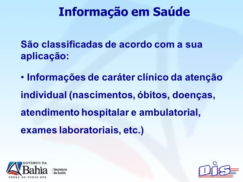 Informação em Saúde São classificadas de acordo com a sua aplicação: