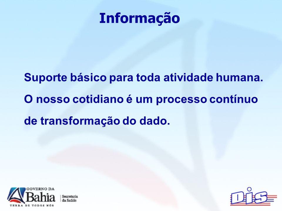 Informação Suporte básico para toda atividade humana.
