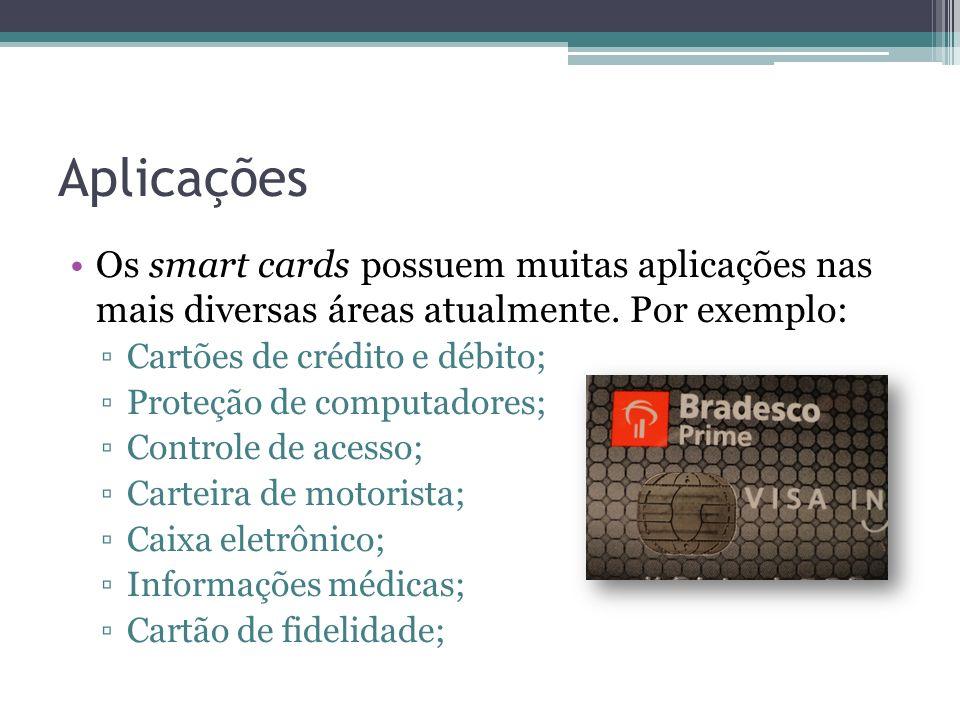 Aplicações Os smart cards possuem muitas aplicações nas mais diversas áreas atualmente. Por exemplo: