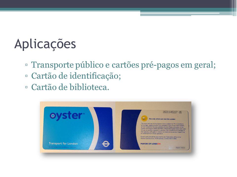 Aplicações Transporte público e cartões pré-pagos em geral;
