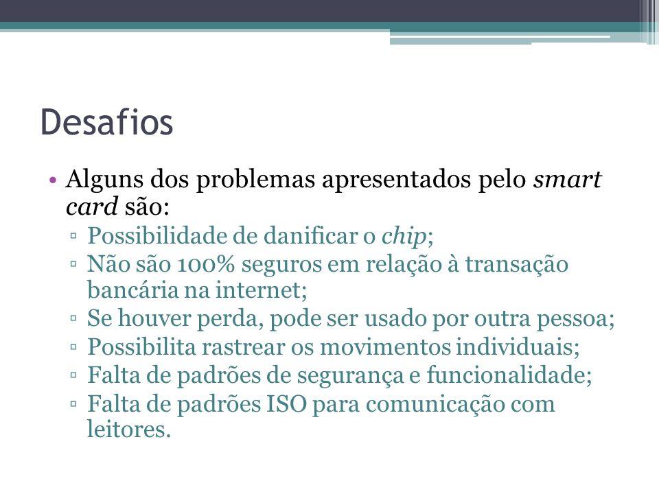 Desafios Alguns dos problemas apresentados pelo smart card são: