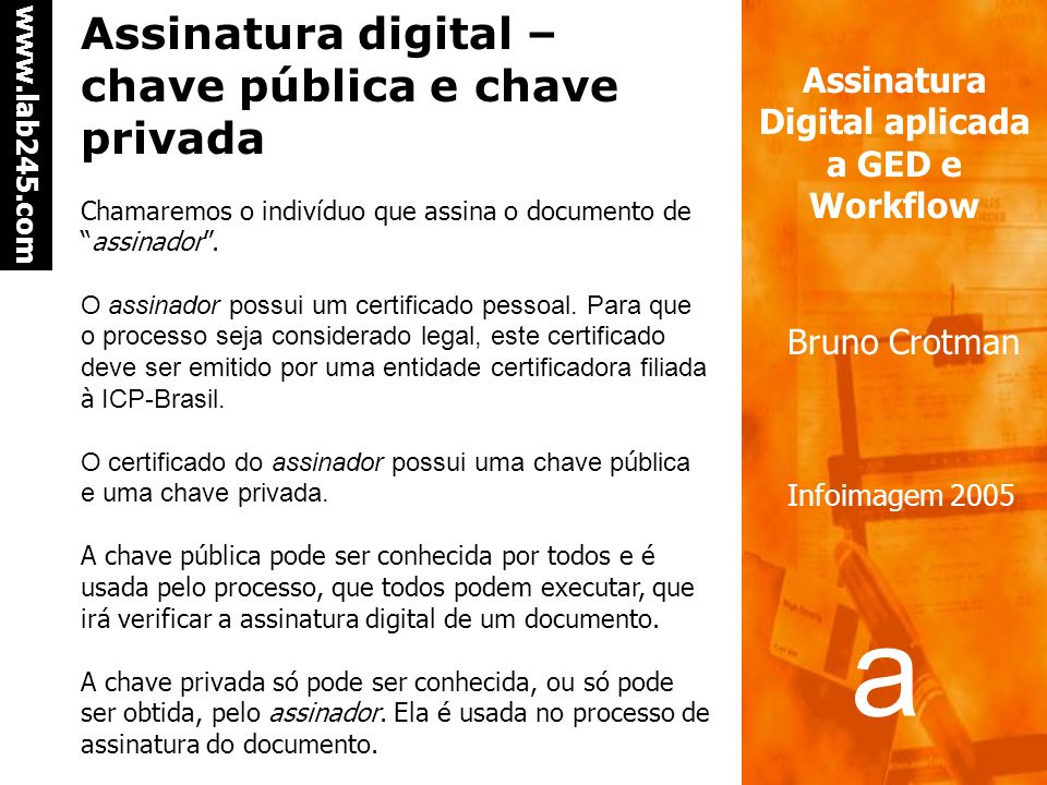 Assinatura digital – chave pública e chave privada