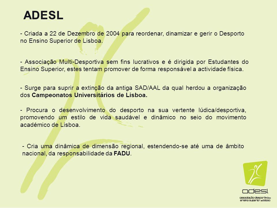 ADESL - Criada a 22 de Dezembro de 2004 para reordenar, dinamizar e gerir o Desporto no Ensino Superior de Lisboa.