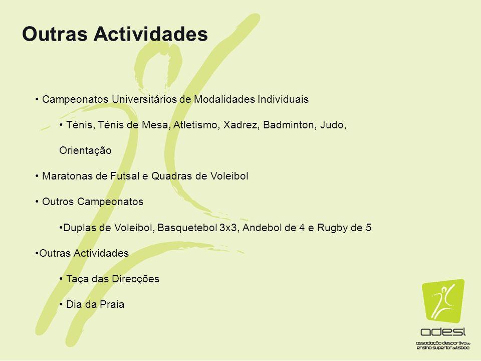 Outras Actividades Campeonatos Universitários de Modalidades Individuais. Ténis, Ténis de Mesa, Atletismo, Xadrez, Badminton, Judo, Orientação.
