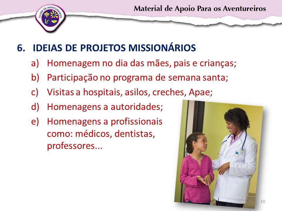 IDEIAS DE PROJETOS MISSIONÁRIOS