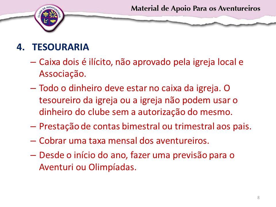 TESOURARIA Caixa dois é ilícito, não aprovado pela igreja local e Associação.