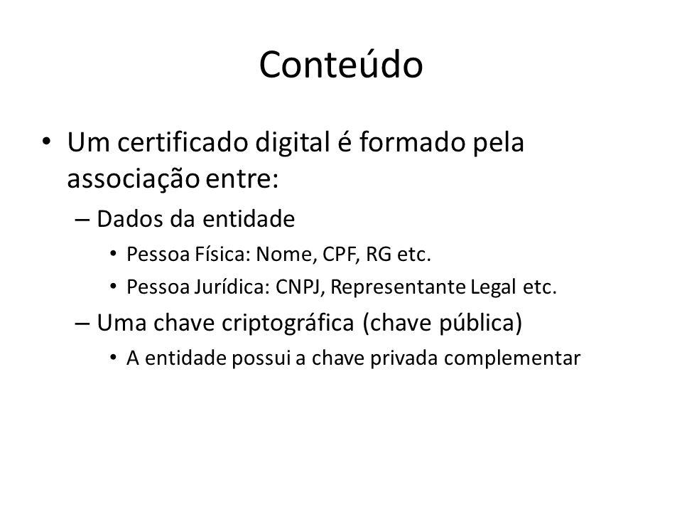 Conteúdo Um certificado digital é formado pela associação entre: