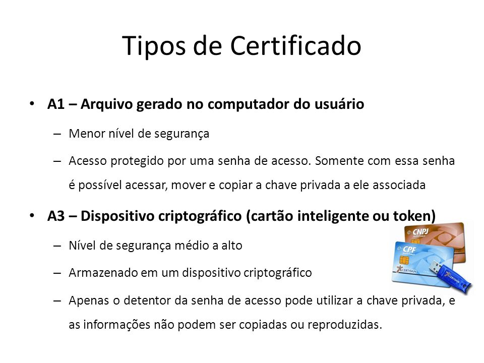 Tipos de Certificado A1 – Arquivo gerado no computador do usuário