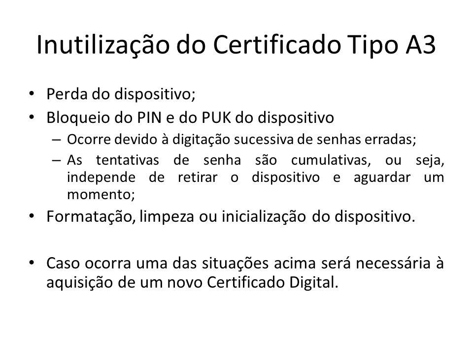 Inutilização do Certificado Tipo A3