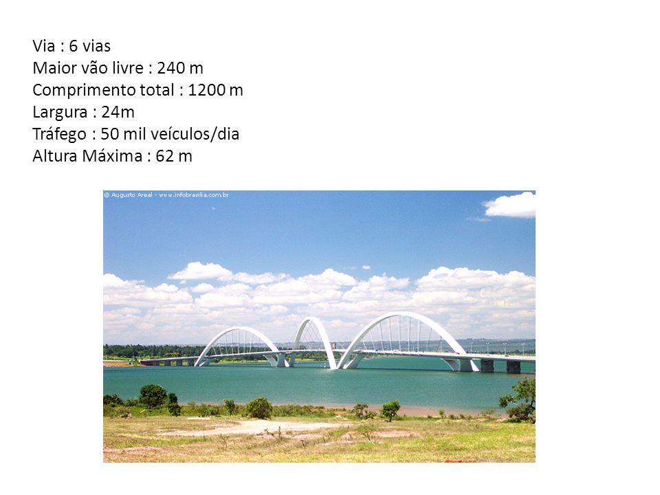 Via : 6 vias Maior vão livre : 240 m Comprimento total : 1200 m Largura : 24m Tráfego : 50 mil veículos/dia Altura Máxima : 62 m