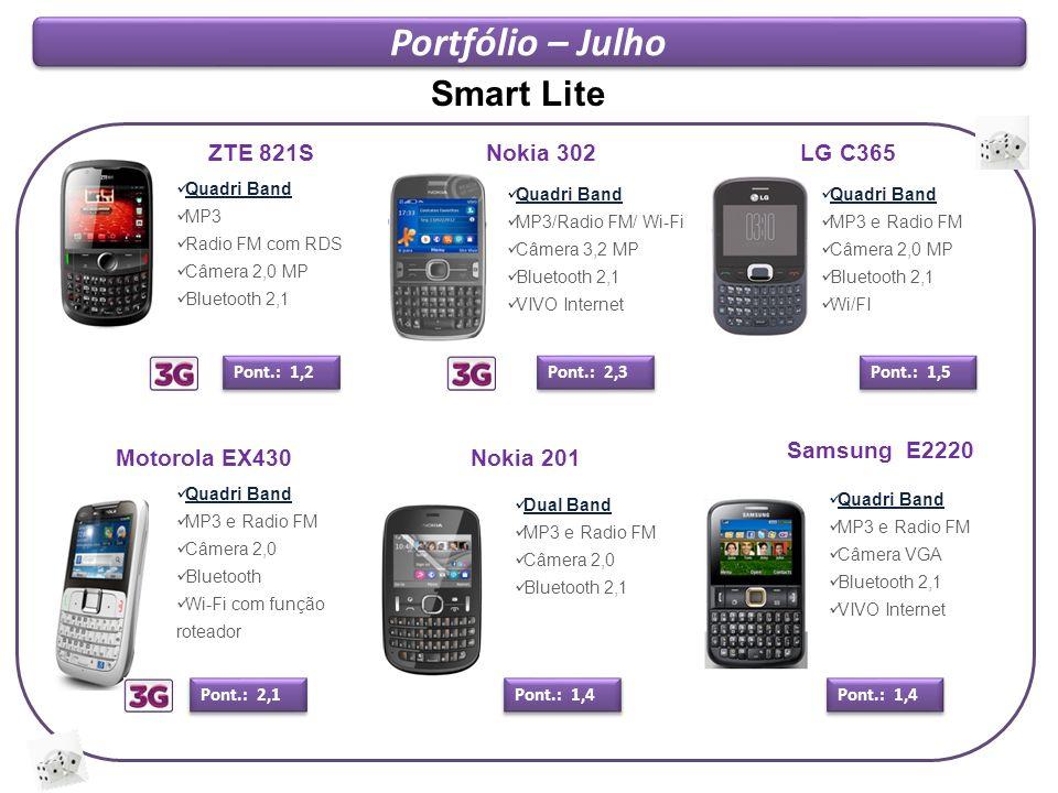 Portfólio – Julho Smart Lite ZTE 821S Nokia 302 LG C365 Samsung E2220