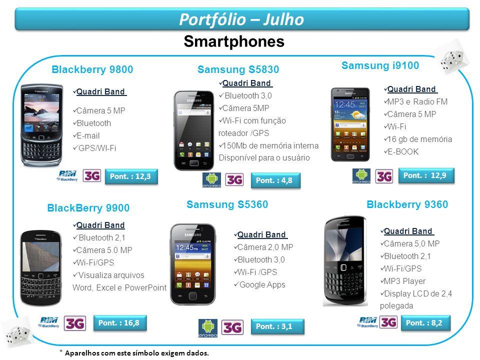 Portfólio – Julho Smartphones Samsung i9100 Blackberry 9800