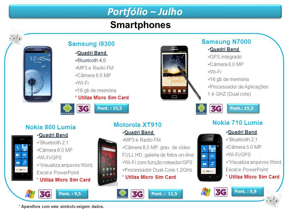 Portfólio – Julho Smartphones Samsung N7000 Samsung i9300