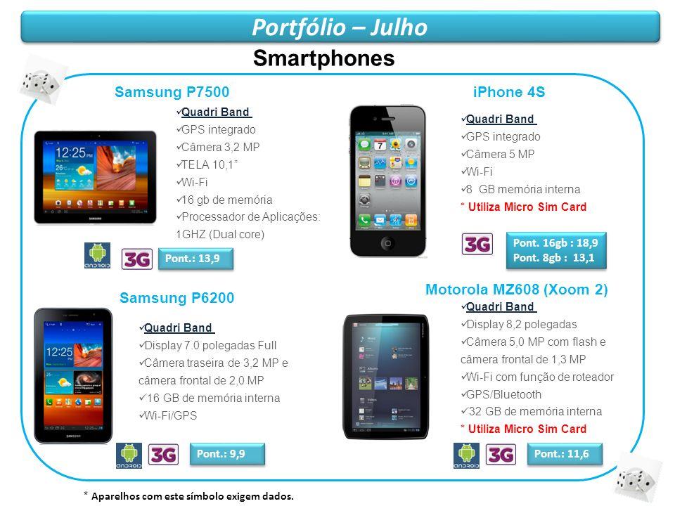 Portfólio – Julho Smartphones Samsung P7500 iPhone 4S