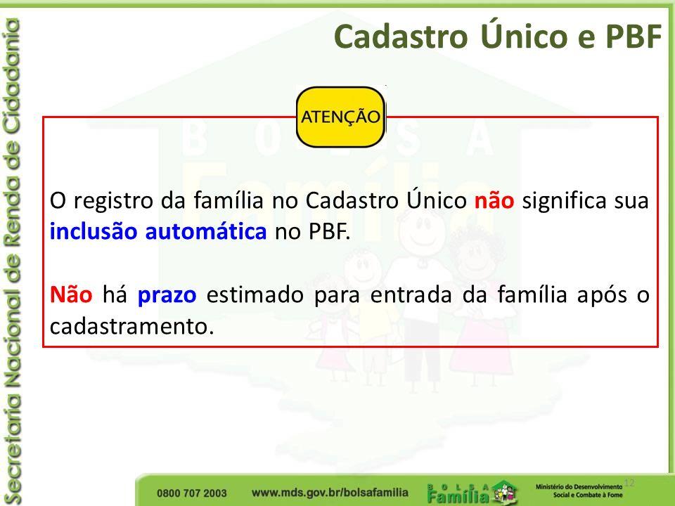 Cadastro Único e PBF O registro da família no Cadastro Único não significa sua inclusão automática no PBF.