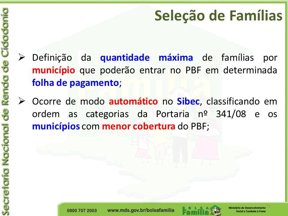 Seleção de Famílias Definição da quantidade máxima de famílias por município que poderão entrar no PBF em determinada folha de pagamento;