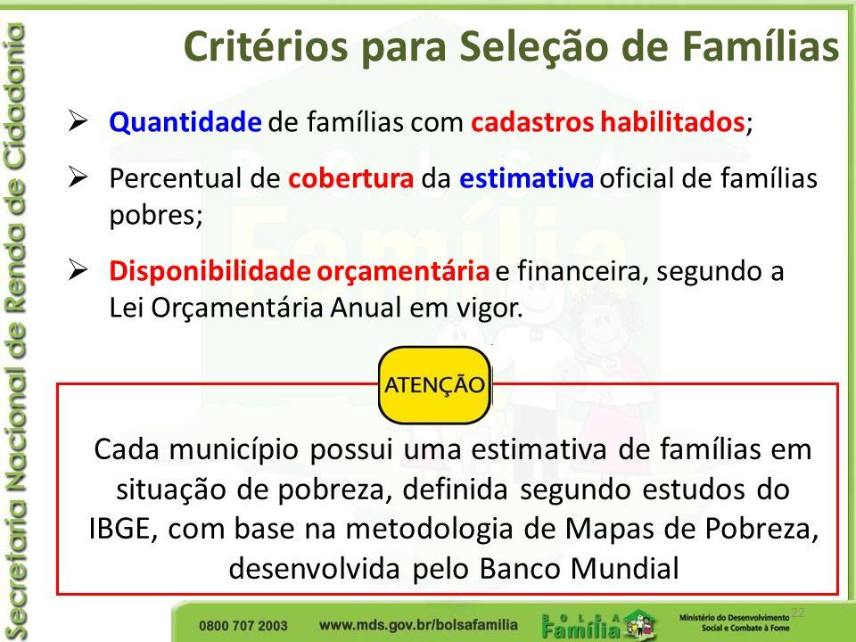 Critérios para Seleção de Famílias