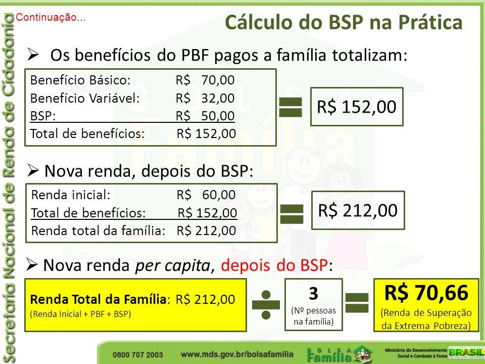 R$ 70,66 Cálculo do BSP na Prática R$ 152,00 R$ 212,00 3