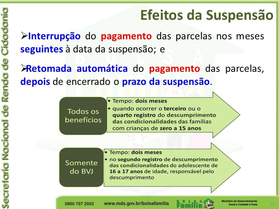 Efeitos da Suspensão Interrupção do pagamento das parcelas nos meses seguintes à data da suspensão; e.