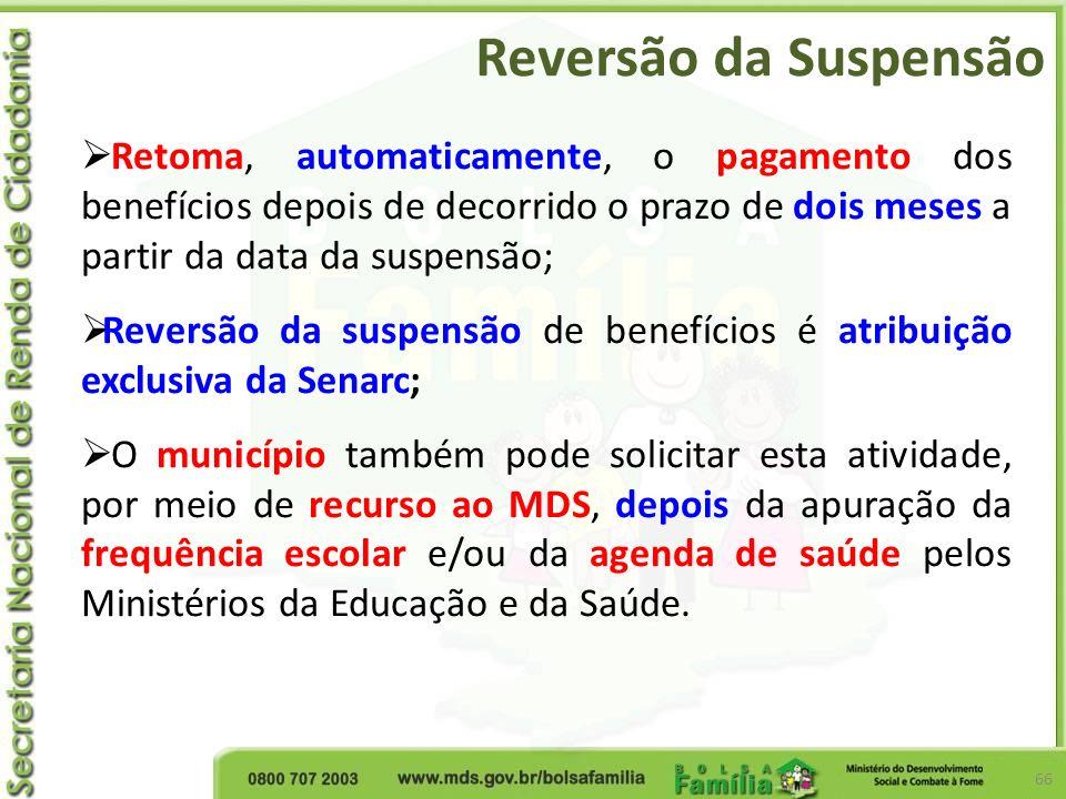 Reversão da Suspensão Retoma, automaticamente, o pagamento dos benefícios depois de decorrido o prazo de dois meses a partir da data da suspensão;