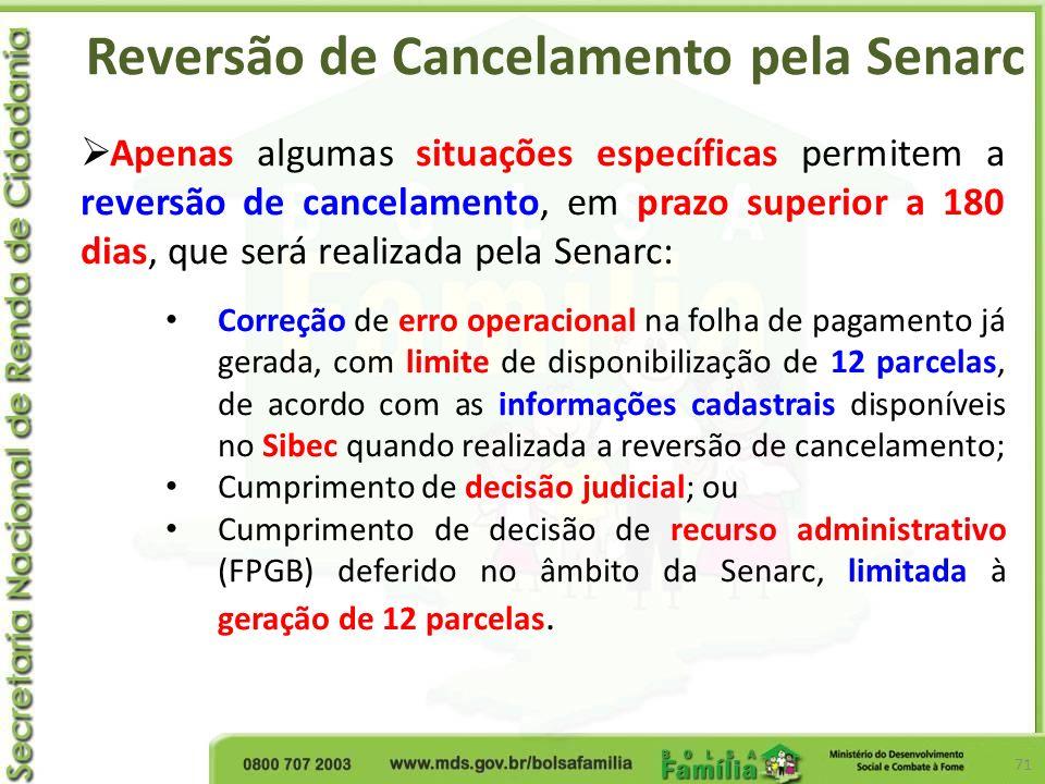 Reversão de Cancelamento pela Senarc