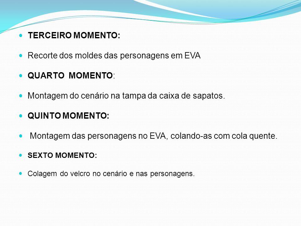 Recorte dos moldes das personagens em EVA QUARTO MOMENTO: