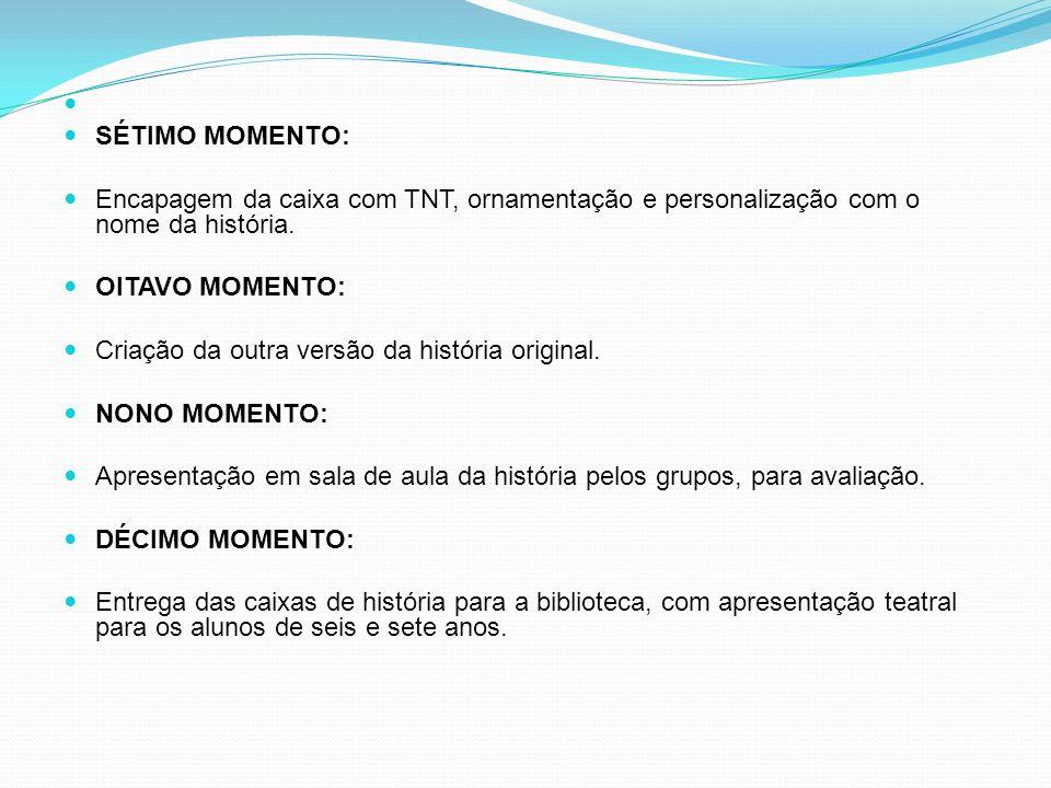 SÉTIMO MOMENTO: Encapagem da caixa com TNT, ornamentação e personalização com o nome da história.