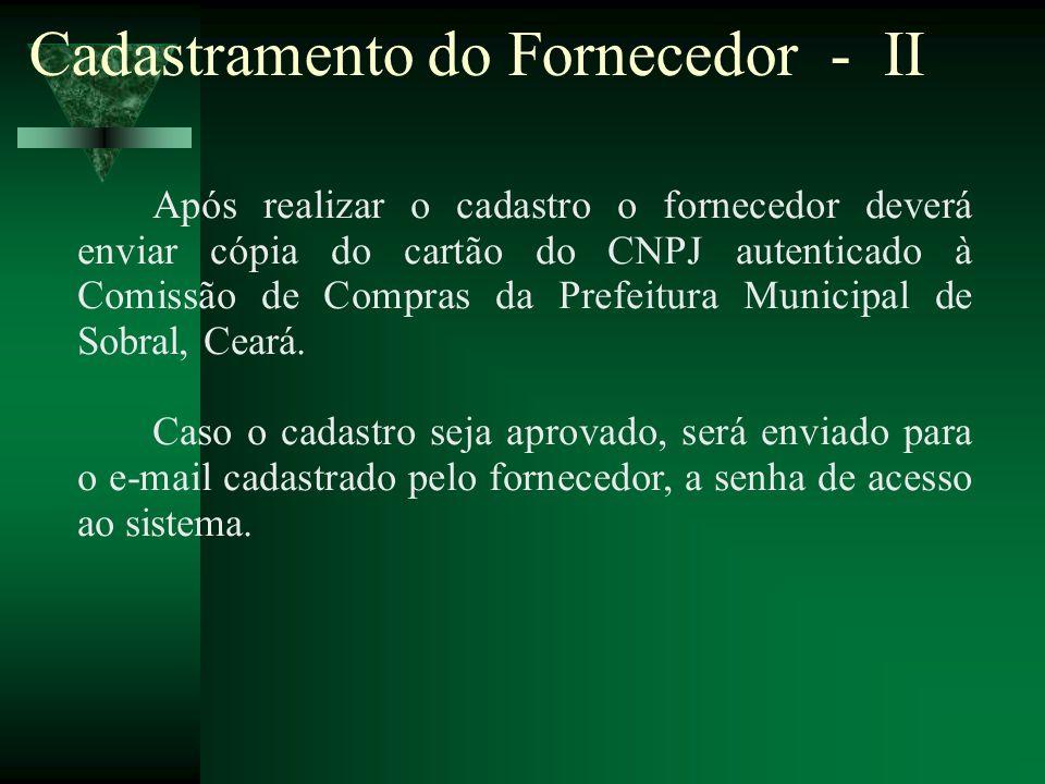 Cadastramento do Fornecedor - II