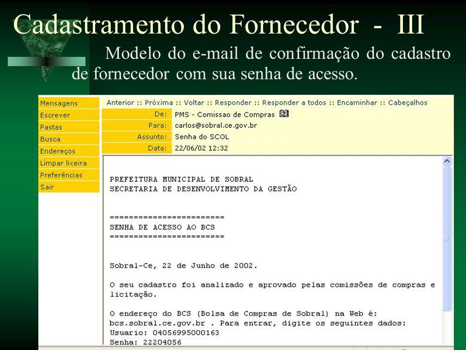 Cadastramento do Fornecedor - III
