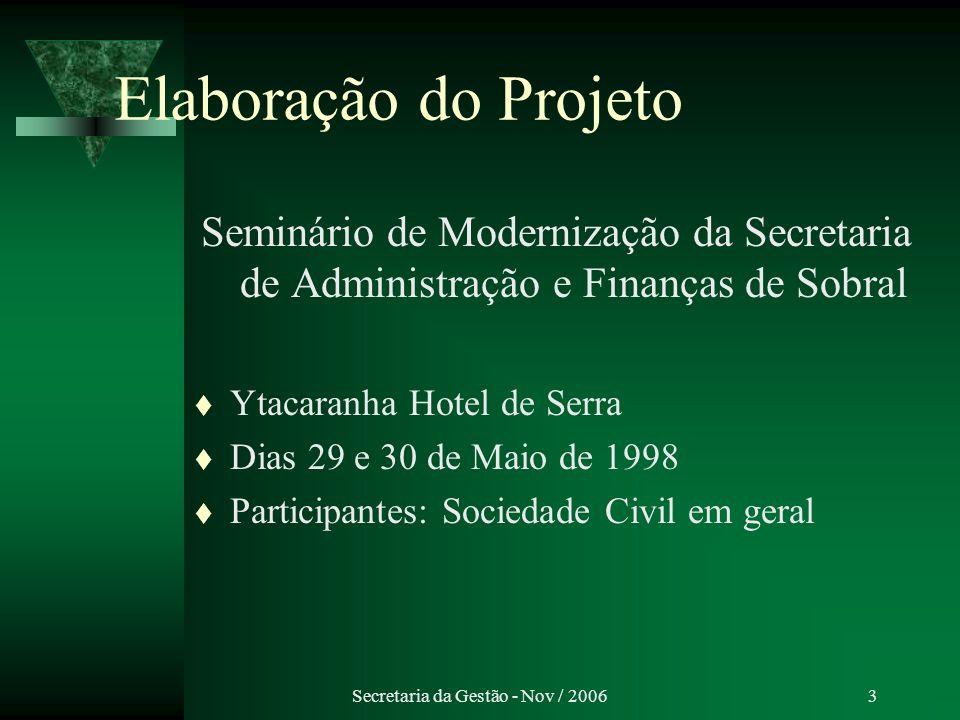 Secretaria da Gestão - Nov / 2006