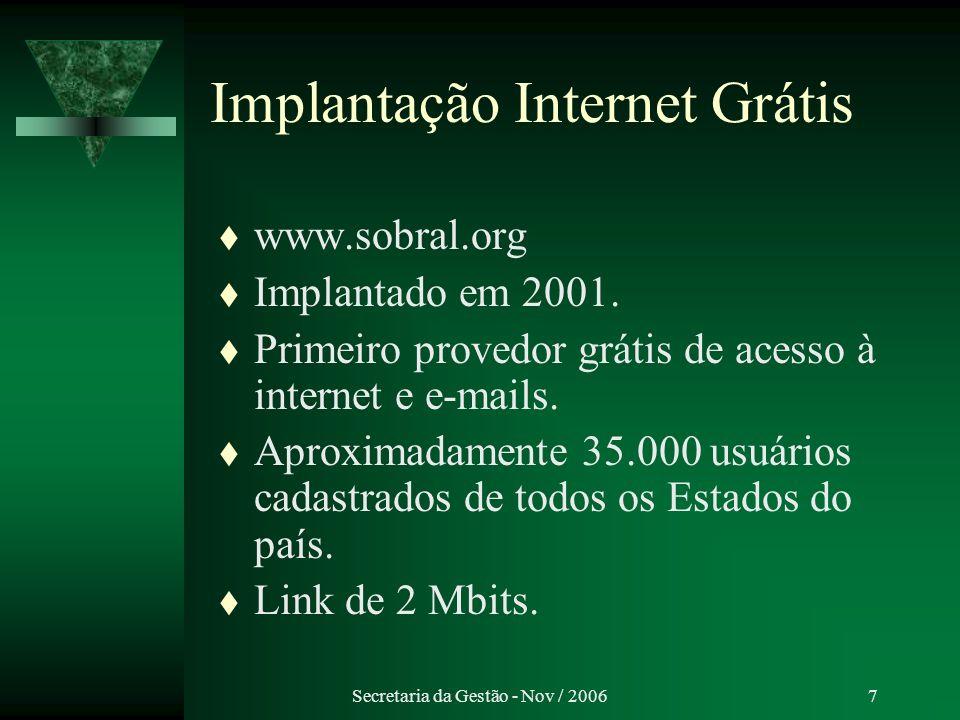 Implantação Internet Grátis