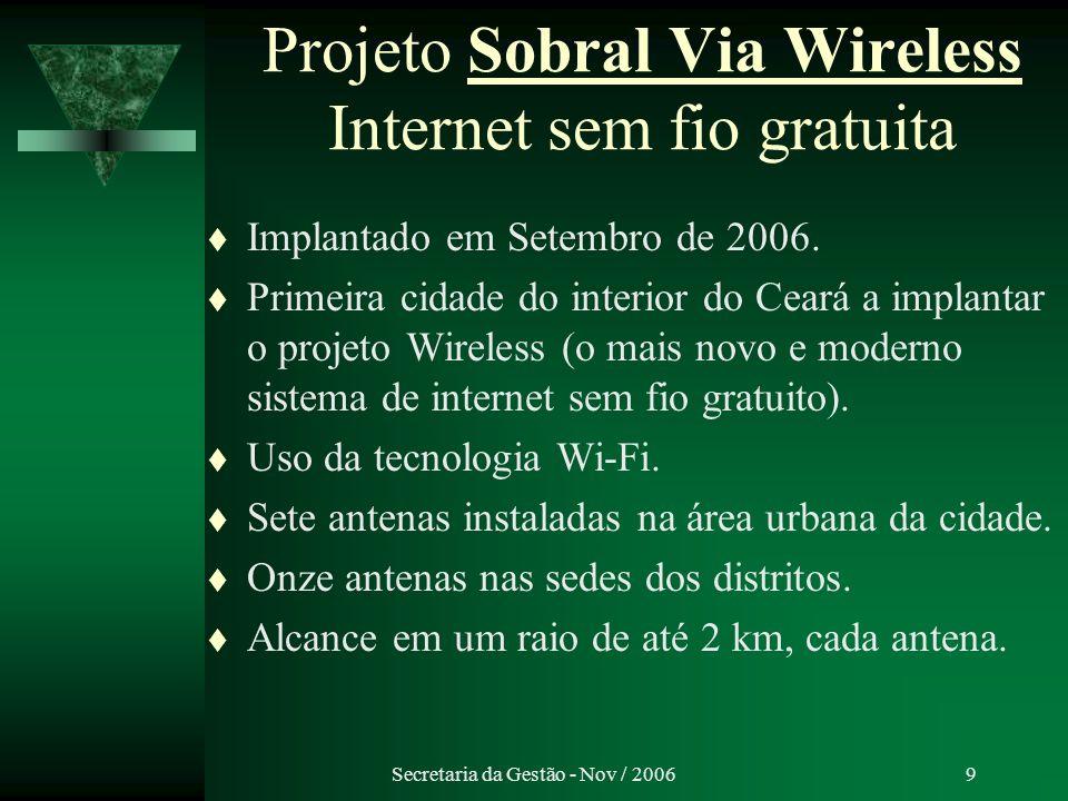 Projeto Sobral Via Wireless Internet sem fio gratuita