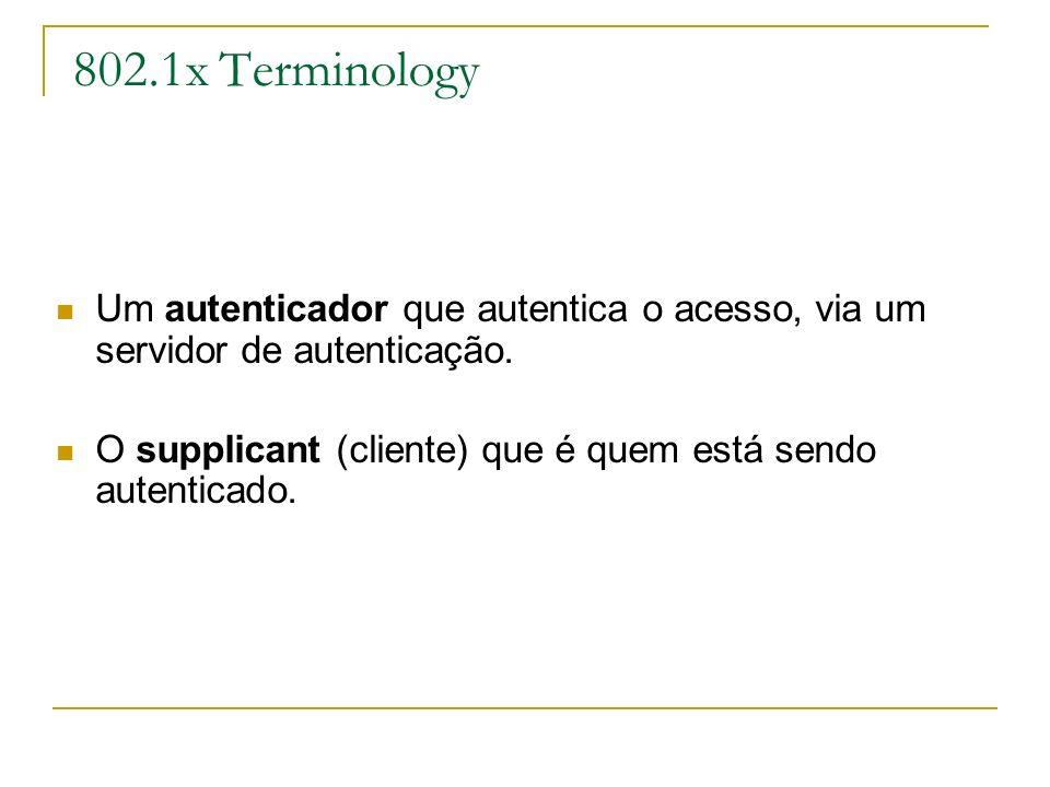 802.1x Terminology Um autenticador que autentica o acesso, via um servidor de autenticação.