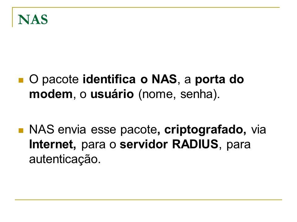 NAS O pacote identifica o NAS, a porta do modem, o usuário (nome, senha).