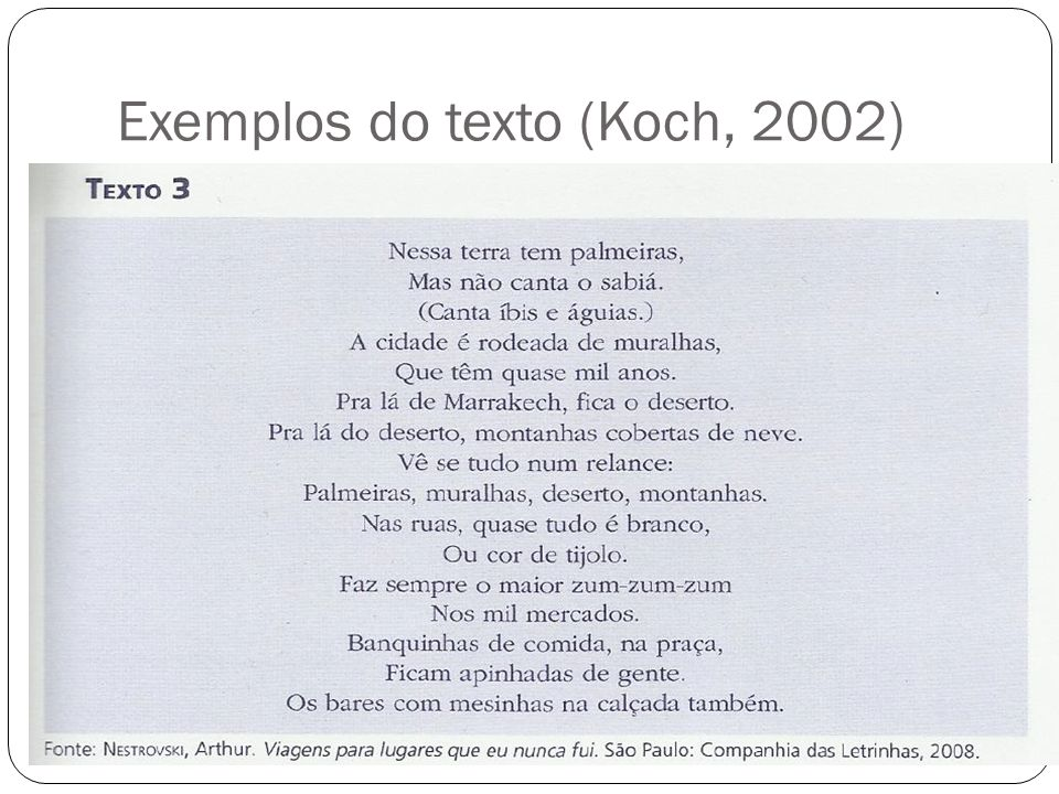 Exemplos do texto (Koch, 2002)