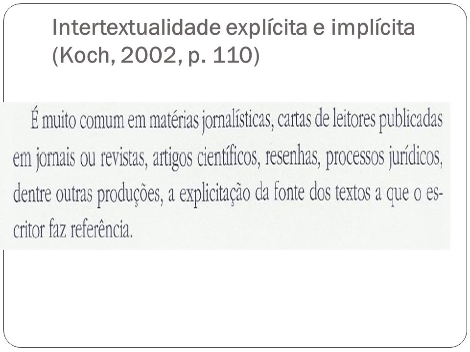 Intertextualidade explícita e implícita (Koch, 2002, p. 110)