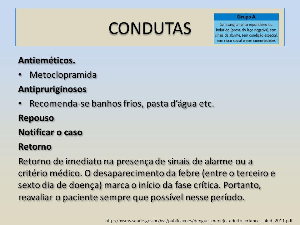CONDUTAS Antieméticos. Metoclopramida Antipruriginosos
