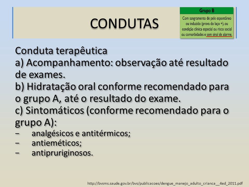 CONDUTAS Conduta terapêutica