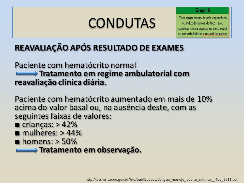 CONDUTAS REAVALIAÇÃO APÓS RESULTADO DE EXAMES