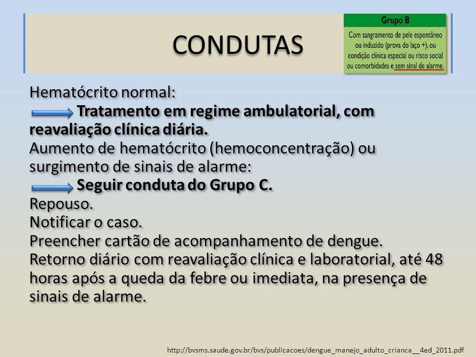 CONDUTAS Hematócrito normal:
