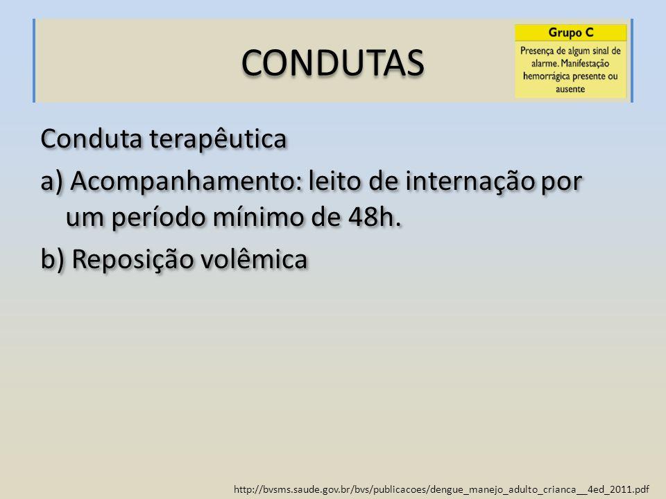 CONDUTAS Conduta terapêutica a) Acompanhamento: leito de internação por um período mínimo de 48h.